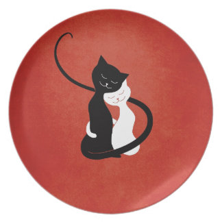 Red Cute White And Black Cats In Love Plate