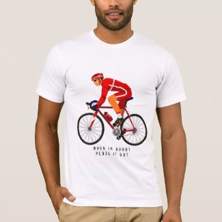 Red Cyclist & Bicycle   T-shirt