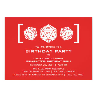 Red D20 Dice Gamer Birthday Party Invite