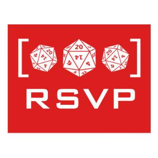 Red D20 Dice Gamer RSVP Postcard