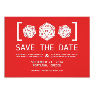 Red D20 Dice Gamer Save the Date Invite