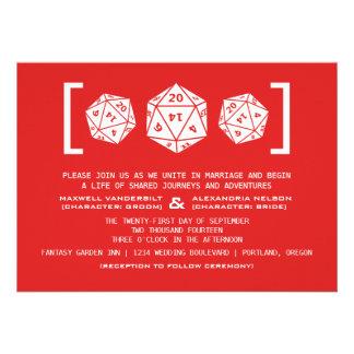 Red D20 Dice Gamer Wedding Invitation