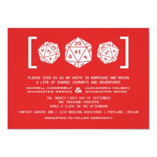 "Red D20 Dice Gamer Wedding Invitation 5"" X 7"" Invitation Card"
