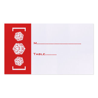 Red D20 Dice Gamer Wedding Place Card Business Cards