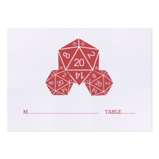 Red D20 Dice Wedding Place Card Pack Of Chubby Business Cards