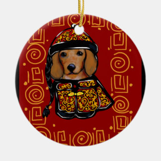 Red Dachshund Dog of the Year Christmas Ornament