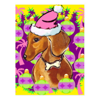 RED DACHSHUND POSTCARD