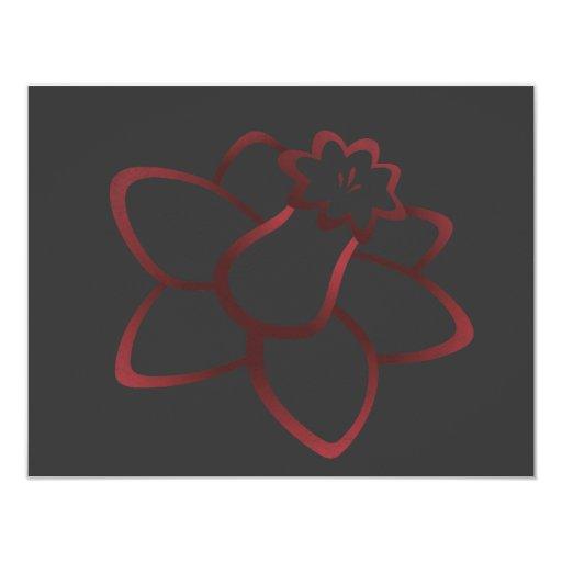 Red Daffodil 11 Cm X 14 Cm Invitation Card