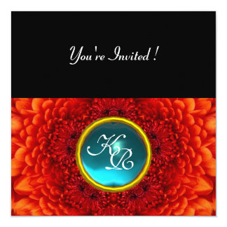 RED DAHLIA, AQUAMARINE ,bright blue black yellow 13 Cm X 13 Cm Square Invitation Card
