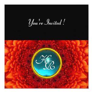 RED DAHLIA, AQUAMARINE ,bright blue black yellow Custom Invite