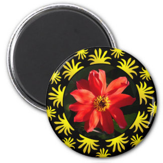 Red Dahlia (Bishop of Llandaff) - v2 6 Cm Round Magnet