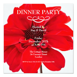 Red Dahlia Floral Party Invitation