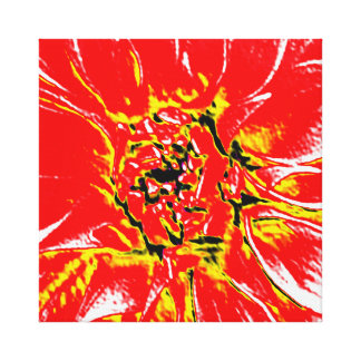 Red Dahlia Flower on canvas Canvas Prints