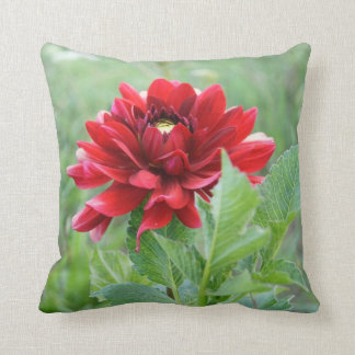 "Red Dahlia Flower, Polyester Throw Pillow 16""x16"""