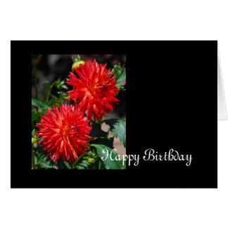 Red Dahlia Pair Birthday Card
