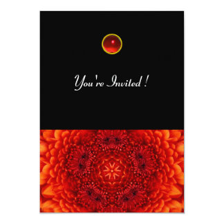 RED DAHLIA, RUBY,   bright  black Invitations