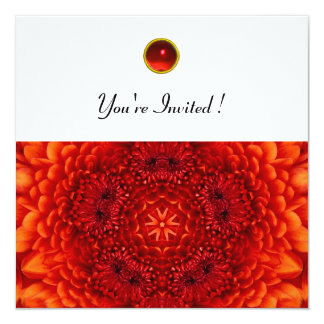 RED DAHLIA, RUBY,   bright  black white 13 Cm X 13 Cm Square Invitation Card