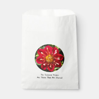 Red Dahlia with Bee Pair - White Favor Bag