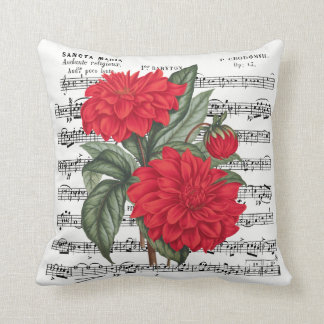 Red Dahlia With Vintage Music Overlay Cushion