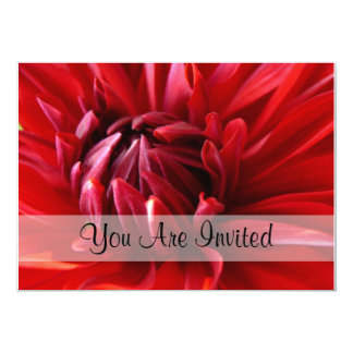 Red Dahlia You Are Invited Card