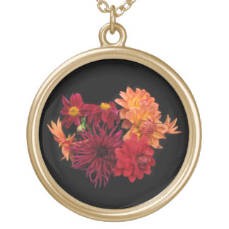 Red Dahlias Gold Plated Necklace