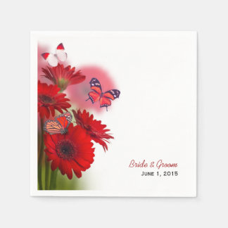 Red Daisies and Butterflies Wedding Paper Napkins