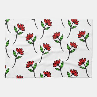Red Daisies Tea Towel