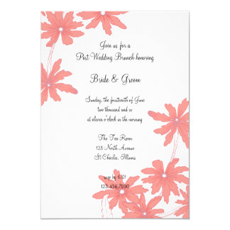 Red Daisies White Post Wedding Brunch Invitation