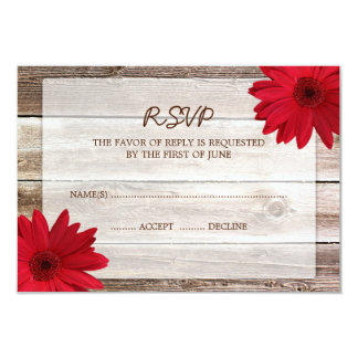 Red Daisy Barn Wood Wedding RSVP Response Card 9 Cm X 13 Cm Invitation Card