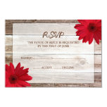 Red Daisy Barn Wood Wedding RSVP Response Card Personalised Announcement
