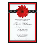 Red Daisy Black Polka Dots Bridal Shower Personalised Announcements