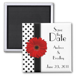 Red Daisy Black White Polka Dot Save the Date Square Magnet