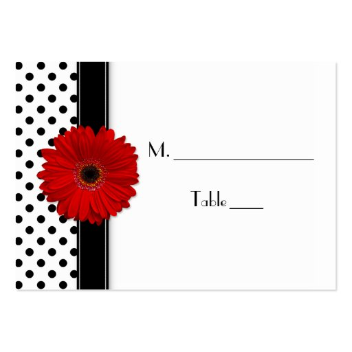 Red Daisy Black White Polka Dot Wedding Place Card Business Card Templates