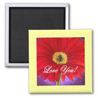 Red Daisy Flower Painting - Multi Fridge Magnets
