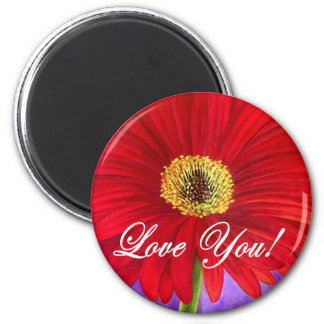 Red Daisy Flower Painting - Multi Refrigerator Magnets