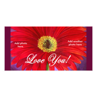 Red Daisy Flower Painting - Multi Photo Card Template