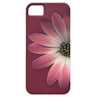 Red Daisy on Wine Leather Texture iPhone 5 Cases