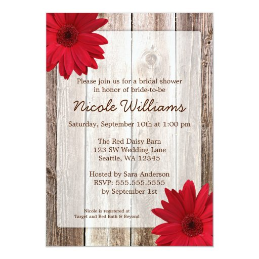 Red Daisy Rustic Barn Wood Bridal Shower 13 Cm X 18 Cm Invitation Card