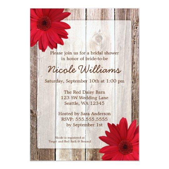 Red Daisy Rustic Barn Wood Bridal Shower Card