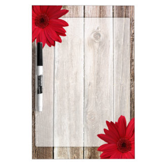 Red Daisy Rustic Barn Wood Dry Erase Board