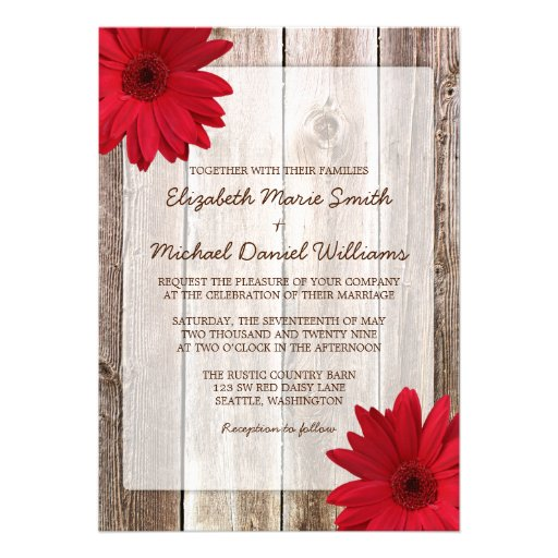 Red Daisy Rustic Barn Wood Wedding Announcements