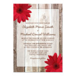Red Daisy Rustic Barn Wood Wedding Custom Announcement