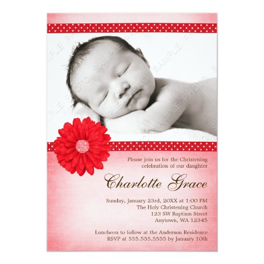 Red Daisy Sparkle Photo Baptism Christening Card