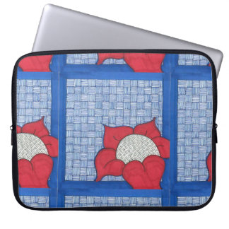 Red Daisy with Blue Background Laptop Sleeve