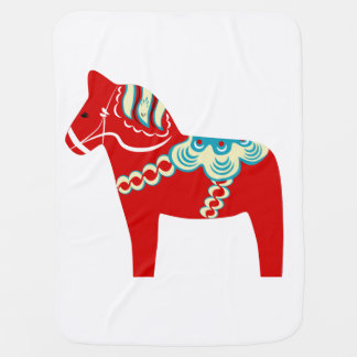Red Dala Horse Baby Blanket