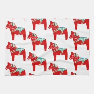 Red Dala Horse Kitchen Towel