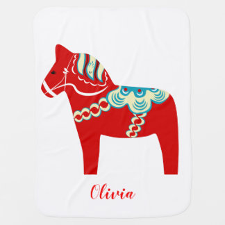 Red Dala Horse Personalized Baby Blanket