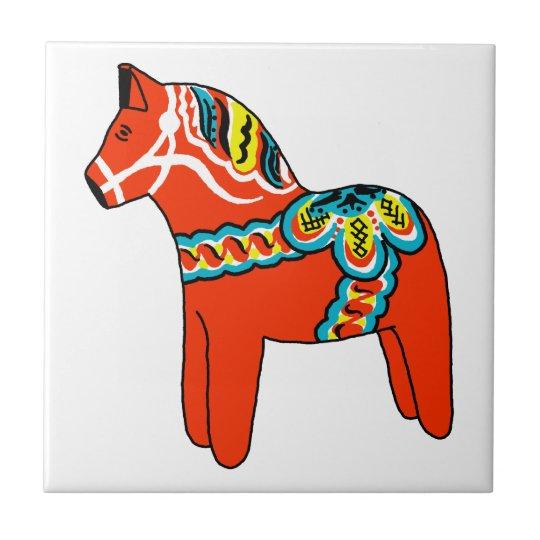 Red Dala Horse Small Square Tile