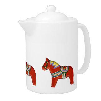 Red Dala Horse Teapot