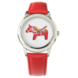 Red Dala Horse with Daisies Watch